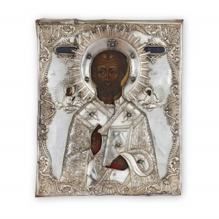 Jewelled, parcel gilt and silver Russian icon of St. Nicholas