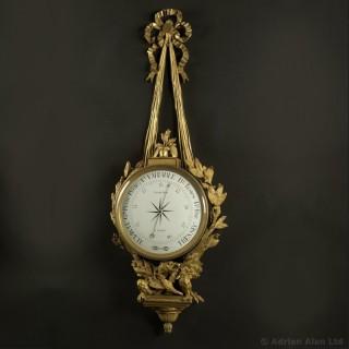 Louis XVI Style Gilt-Bronze Cartel Barometer