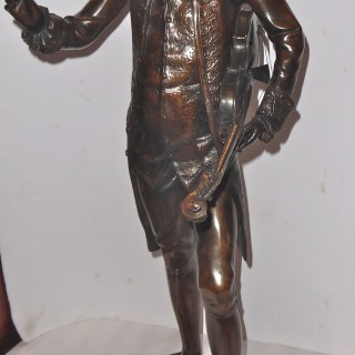 A patinated bronze sculpture of Mozart by R. Pauli