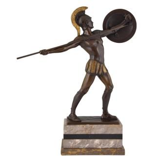 Bronze sculpture Roman warrior with spear and helmet