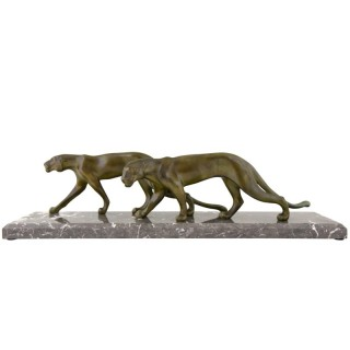 Art Deco sculpture of 2 panthers