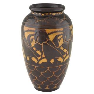 Art Deco ceramic vase with stylized birds.