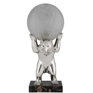 Art Deco silvered bear lamp with crackle glass globe.