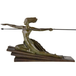 Amazon, Art Deco bronze sculpture of a nude with spear