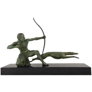 Art Deco bronze sculpture of an archer with hunting dog.