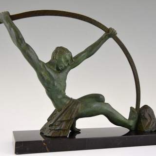 French Art Deco sculpture athletic man bending a bar