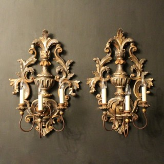 Florentine Pair Of Triple Arm Wall Lights