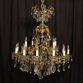 French Gilded 17 Light Antique Chandelier