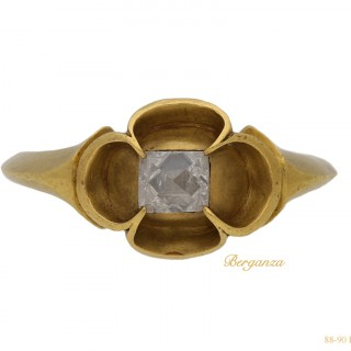 Medieval point cut diamond solitaire ring, circa 15th century.