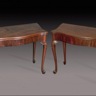 A fine pair George II mahogany concertina action card tables