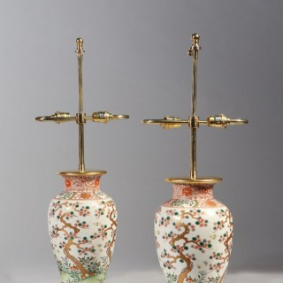 A pair of Japanese porcelain vases as lamps