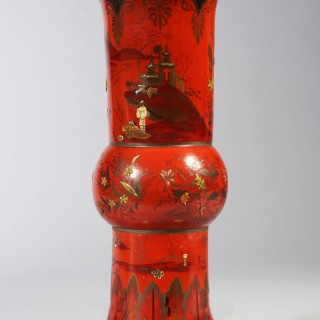 A Berlin red japanned pottery vase as a lamp
