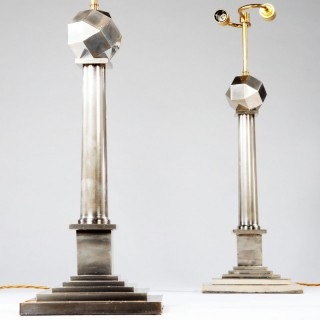 A Pair of  Nickel-Plated Column Lamps