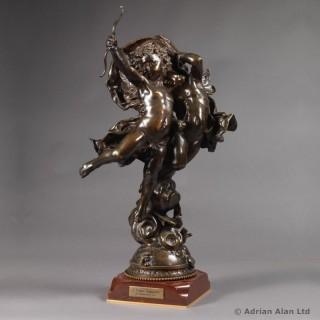 'L'Amour Vainqueur'  - Patinated Bronze Figural Group