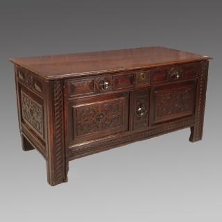 An Early 17th Century Two Panel Oak Coffer