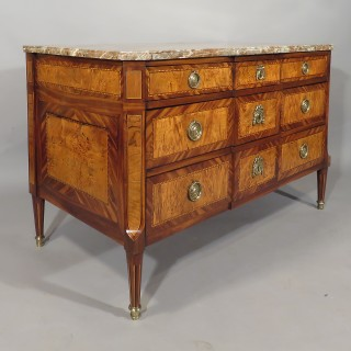 A Late 18th Century French Kingwood and Yewood Marble Topped Commode