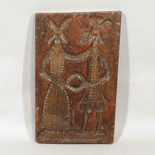 A 19th Century Dutch Beech Biscuit Mould Depicting A Couple