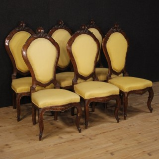 19th Century Group Of Six Italian Chairs In Walnut