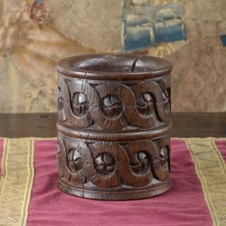 Elizabeth I oak carved mortar