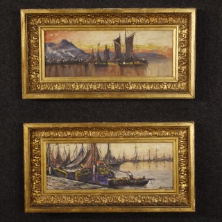 20th Century Pair Of French Signed Painting Seascapes With Boats