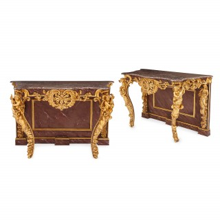 Pair of Rococo style antique giltwood Italian console tables