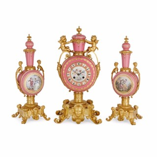 Sèvres style pink porcelain and ormolu antique French clock set