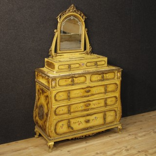 20th Century Lacquered And Gilt Chest Of Drawers With Mirror
