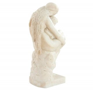 'The First Cradle', Italian marble antique sculpture by Pietro Franchi
