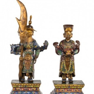 Pair Chinese cloisonne figures