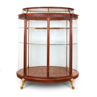 French ormolu, mahogany and parquetry large antique vitrine
