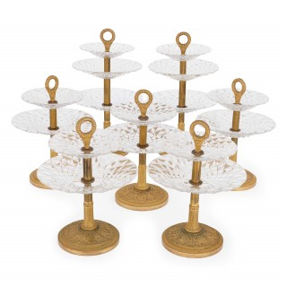 Antique gilt bronze and cut glass tazze seven piece centrepiece suite