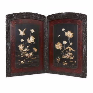 Antique Japanese Meiji period folding carved wood screen with Shibayama detailing