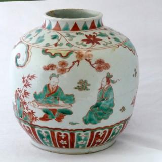 Ming Wucai 16th Centural Figural Jar