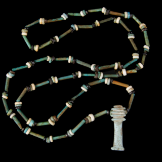 NECKLACE OF ANCIENT EGYPTIAN BEADS WITH DJED PILLAR