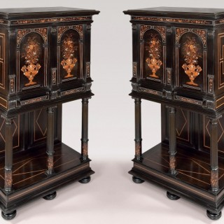 Pair of  French Marquetry Cabinets Attributed to Charles Hunsinger
