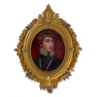 Portrait enamel of William Lamb, 2nd Viscount Melbourne (1779-1848), wearing 'Montem dress', consisting of black doublet with white ruff, c.1850