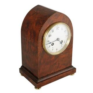 Edwardian Burr Walnut Mantel Clock