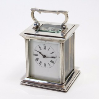 Rare Solid Silver Carriage Clock