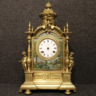 20th Century Italian Table Clock In Bronze And Brass