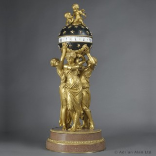 Bronze Cercles Tournants Clock Depicting The Three Graces