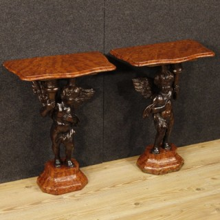20th Century Pair Of Italian Lacquered Side Tables