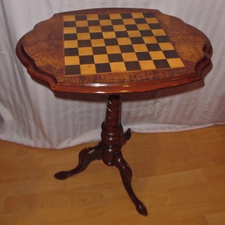 A Victorian burr walnut chess table