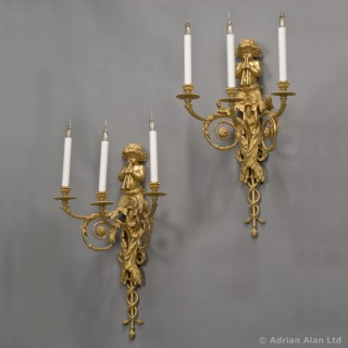 Pair of  Louis XVI Style Three-Light Wall-Appliques