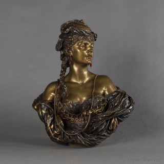 Multipatinated Bronze Orientalist Female Bust