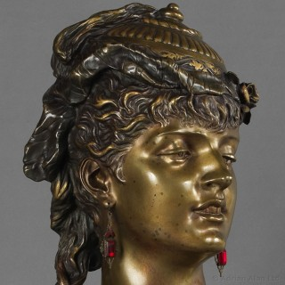 Multipatinated Bronze Orientalist Female Bust
