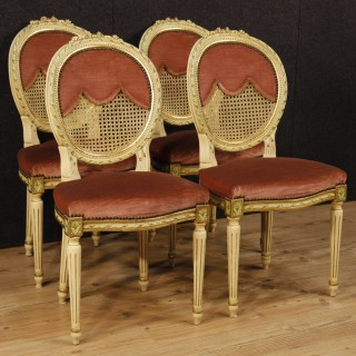 20th Century Lacquered And Gilt Chairs In Louis XVI Style
