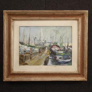 20th Century Italian Painting Port Of Alassio