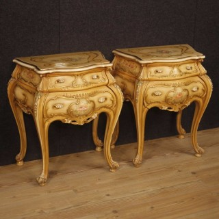 20th Century Pair Of Venetian Lacquered Bedside Tables