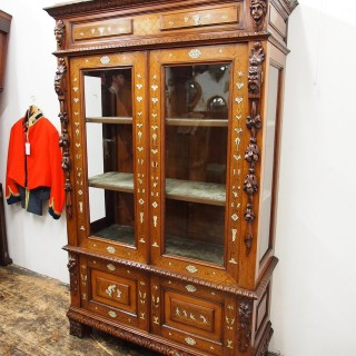 Italian Inlaid Walnut Display Cabinet or Bookcase