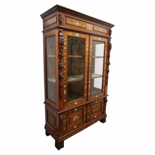 Italian Inlaid Walnut Display Cabinet or Bookcase